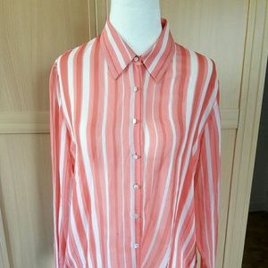 Isda & Co Striped Long Sleeve Top Blouse Size M